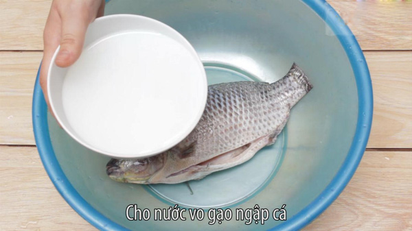 rửa cá bằng nước vo gạo